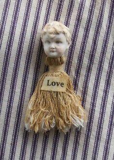 Sale Antique Frozen Charlotte Love Tassel Doll Pin by louzart, $15.00