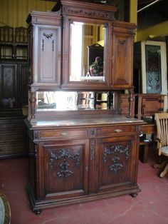 Antique Furniture French Antique Hutch China Cabinet Sideboard Buffet!