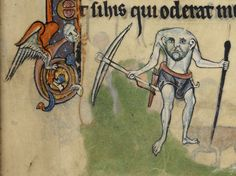 The mythological headless creature known as a Blemmyes. Believed to have had their eyes in their shoulders and mouth in their chests.  Manuscript made in England, possibly in London circa AD 1260