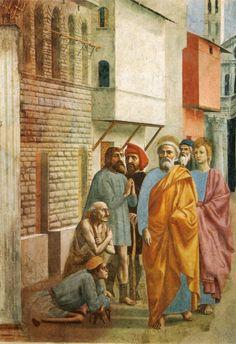 lilacsinthedooryard:  Masaccio   St. Peter Healing the Sick with His Shadow  1425