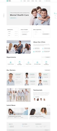 Inside - Psychology Clinic Multipage HTML Template Site Design, Web Design, Graphic Design, Html Cheat Sheet, Html And Css Templates, Psychology Clinic, Sites Layout, Mental Health Care, Jewelry Websites