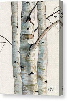 Birch Trees Painting, Birch Tree Art, White Birch Trees, Wall Painting Decor, Tree Canvas, Canvas Art, Canvas Prints, Francis Hallé, Tinta China