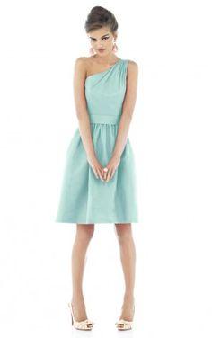 Blue One Shoulder Zipper A-line Knee-length Dresses