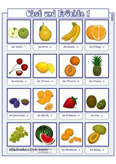 Bildwörterbuch_Obst_1 Deutsch Language, Kindergarten Portfolio, German Language Learning, German Words, Learn German, Grammar Worksheets, School Subjects, Fruit And Veg, Make It Simple