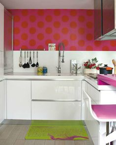 modern small white and pink kitchen