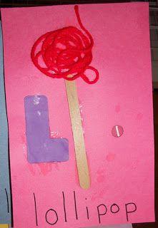 """Lollipop Craft: fun letter """"L"""" craft"""