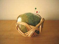 A pincushion made of bamboo