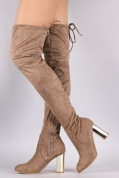 811cacd17 Suede Drawstring Tie Chunky Metallic Heeled Over-The-Knee Boots