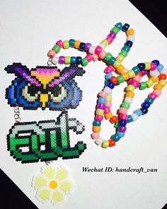 Edc kandi necklace 📿 Get ready to the party🙌🏻🙌🏻 Add wechat: handcraft_van or email me for more details☺️ Owl Patterns, Beading Patterns, Owl Perler, Rave Candy, Key Keychain, Daisy Necklace, Peler Beads, Electric Daisy Carnival, Raves