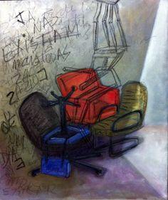 Claudia Lyrio - Pintura - QUATRO CADEIRAS - òleo e lápis oleoso sobre madeira entelada - 60 x 50 cm