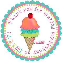 Ice cream Stickers, Ice Cream Birthday Party, Labels,  GIRL, Tags, Seals, Birthday, favor, Children, etsykids, set of 12. $5.95, via Etsy.