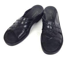 Clarks Sandals 8 Womens Black Leather Comfort Slides #Clarks #Slides