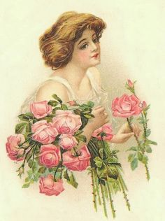Lady with bouquet of roses