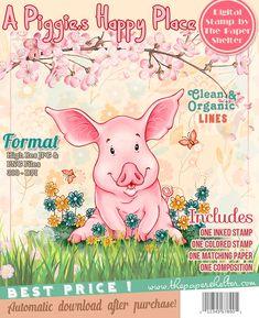 A Piggie's Happy Place - Digital Stamp