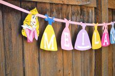 DISNEY PRINCESS DRESS Banner - Happy Birthday or Name - Snow White, Aurora, Jasmine, Cinderella, Anna, Elsa, Frozen, Ariel, Sofia, Tangled by IDPartyDesigns on Etsy https://www.etsy.com/listing/218341185/disney-princess-dress-banner-happy