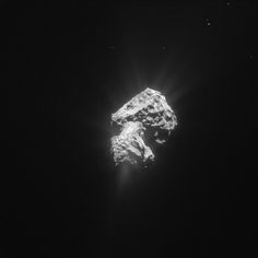 "Comet 67P/Churyumov-Gerasimenko on 20 May 2015 – taken by Rosetta's NavCam. (Copyright: ESA/Rosetta/NavCam) Rosetta was 163.6 km (100 miles) from the comet centre. Mona Evans, ""Rosetta the Comet Chaser"" http://www.bellaonline.com/articles/art182574.asp"