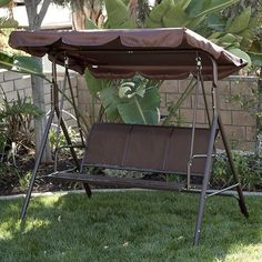 Belleze Outdoor Patio Swing Canopy Awning Yard Furniture Hammock Steel > Heavy springs connect the swing to the frame, ensuring a smooth, gentle rocking motion Relax outside on the patio, deck, or in the garden Built for three people to enjoy together Outdoor Hammock, Pergola Swing, Pergola Shade, Pergola Patio, Pergola Plans, Pergola Kits, Patio Chairs, Outdoor Chairs, Pergola Ideas