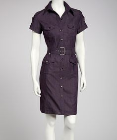 Take a look at this Sharagano Eggplant Belted Shirt Dress on zulily today!