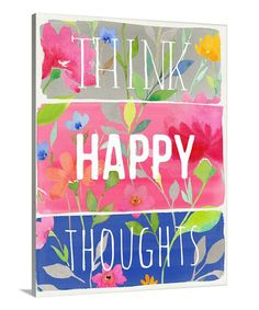 This 'Think Happy Thoughts' Planks Gallery-Wrapped Canvas by Great Big Canvas is perfect! #zulilyfinds