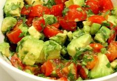 Avacado Salsa: tomatoes, avacado, onions, cilantro & hot peppers all chunked up... salt & pepper to taste and voila!! Eat with chips, or a healthier alternative, with a spoon!! YUM!!