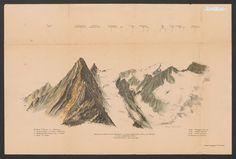 Ansicht gezeichnet von der Nordspitze (zwischen Brigelserhorn 3060 u. Piz Tumbif); K 522010 Old Maps, Vintage World Maps, Asylum, Lace, Draw, Old Cards