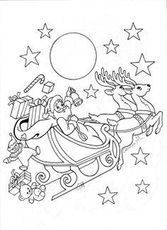 Santa Claus in sleigh coloring