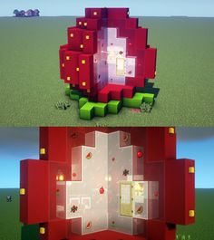1/4 cut out strawberry house🍓 : Minecraft Minecraft House Plans, Minecraft Cottage, Minecraft Mansion, Cute Minecraft Houses, Minecraft House Tutorials, Minecraft Room, Minecraft House Designs, Amazing Minecraft, Minecraft Tutorial