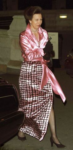 Princess Anne in pink satin blouse and pink-and-black checked evening skirt at the Save The Children Festival Of Trees in 2001's.