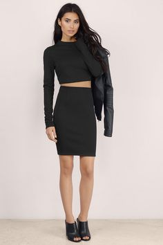 Catch them staring in the Second Glance Bodycon Set. This bodycon set features a mock neck, long-sleeved crop top with an angled back. It also includes a bodycon midi skirt with a back slit and angled back opening. This set kills it as is with strappy heels. Or wear it separately with high waisted skinnies or a sleeveless crop top.. Get 50% off your order when you join Tobi.com