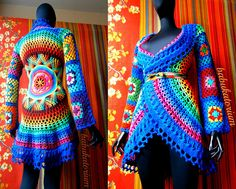 Crochet Coat - Aztec Sun Mandala And Granny Squares by babukatorium