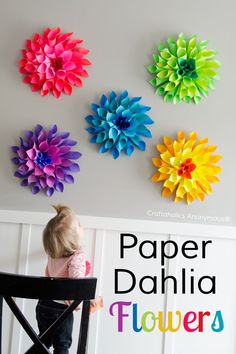 Rainbow Paper Dahlia flowers || These are awesome for cheap DIY bedroom decor, wedding, parties, etc. Click for tutorial.