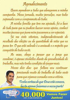 ALEXANDRE GUERREIRO: Mensagem de Agradecimentos do Dr João Paulo 40.000...