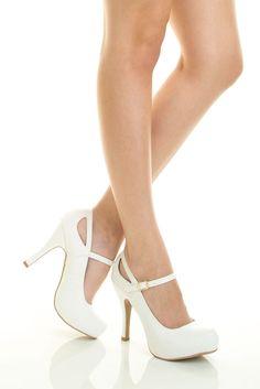 White Closed Toe Mary Jane Stiletto Heel Platform Bridal Wedding Dress Pump Sz 7 #Qupid #MaryJanes