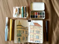 diy travel drawing kit complete with mini sketchbook and a mint tin watercolor palette Travel Sketchbook, Art Sketchbook, Moleskine, Travel Doodles, Pattern Floral, Artist Journal, Journal Art, Art Journaling, Watercolor Kit