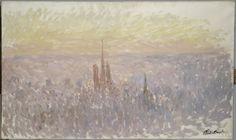[프리즘의 발견] <루앙의 전경> - 클로드 모네: 이 그림은 루앙 성당을 멀리서 조망한 루앙 도시 전체의 풍경을 표현한 작품이다. 우리는 희미하게 처리된 성당을 통해 이 그림이 루앙의 전경을 담았다고 짐작할 수 있지만 성당을 제외한 모든 풍경은 거친 붓질의 흔적으로 마무리 되었다. 짧은 순간을 빠르게 묘사해보려고 노력한 그의 힘찬 에너지를 느낄 수 있다.