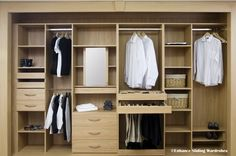 Oak interiors - hanging, shelves, drawers #walkin #closet #storage // Designed by Enhance Sliding Wardrobes www.enhanceslidingwardrobes.com