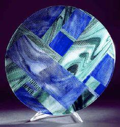 fused & slumped glass platter by Marty Kremer