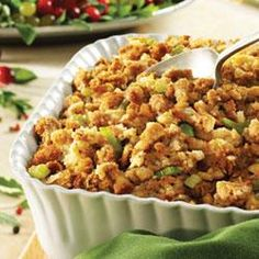 """Moist and Savory Stuffing Recipe - - """"Perfectly-seasoned Pepperidge Farm® Herb Seasoned Stuffing, celery and onion are combined with Swanson® Chicken Broth for a classic, moist stuffing dish. Crockpot Stuffing, Homemade Stuffing, Baked Stuffing, Sausage Stuffing, Turkey Stuffing, Herb Seasoned Stuffing Recipe, Moist Stuffing Recipe, Stuffing Seasoning, Vegetables"""