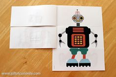 FREE Flip a Robot printable activity book. Kids can mix and match robot heads, bodies and legs. Printable includes six full color mix and match robots, six black line mix and match robots, and blank templates for kids to create their own mix and match robots. || Gift of Curiosity