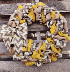 Summer Burlap Wreath Chevron Burlap Wreath by YellowBirdieBoutique, $42.00