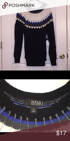 NWT ANA knit sweater. 1 X Multi color knit sweater. Banded waist. Comfy warm knit sweater. Ana Sweaters