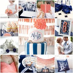 coral and navy wedding cake | center photo cake first row bride cake pops book shoes