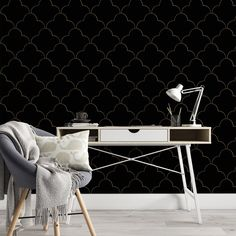 Black Pattern Removable Wallpaper, Dark Colored Wall Cling, Geometric Peel and Stick, Mid Century Modern Decor, Pretty Wall Mural Decal - Canvas Wall Decal / 1 roll: 24W x 132H