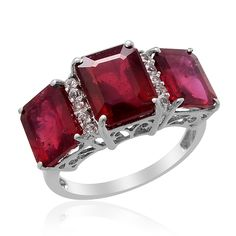 Liquidation Channel:  Niassa Ruby (Fissure Filled) and White Topaz Ring in Platinum Overlay Sterling Silver (Nickel Free)