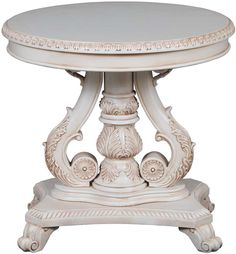 Painted Round Foyer Table - Carved Pedestal Center Table