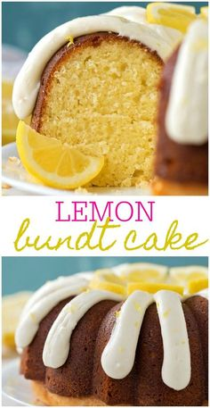 This is the most delicious and moist Lemon Bundt Cake recipe! It is covered in a sweet lemon glaze and is topped off with an amazing cream cheese frosting with lemon zest making it irresistible. Lemon Desserts, Lemon Recipes, Dessert Recipes, Cupcake Recipes, Drink Recipes, Sweet Recipes, Delicious Desserts, Bunt Cakes, Cupcake Cakes