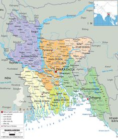 Detailed large political map of Bangladesh showing names of capital city, towns, states, provinces and boundaries with neighbouring countries.