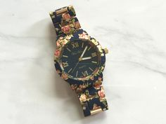 Gold-Foiled Floral Bracelet Watch