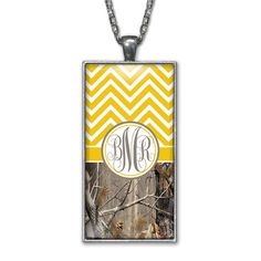 Yellow Chevron Camo Monogram Pendant Charm Necklace Personalized Country Girl Silver Jewelry