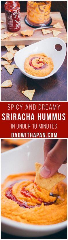 Sriracha Hummus made in 10 minutes! #spicy #hummus #recipe
